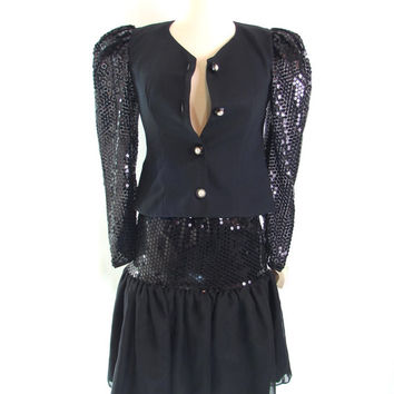 sequin dress skirt suit sequin dress nye suit jacket + skirt black sequin dress suit sheer sequin juniors suit vintage 80s dress party dress
