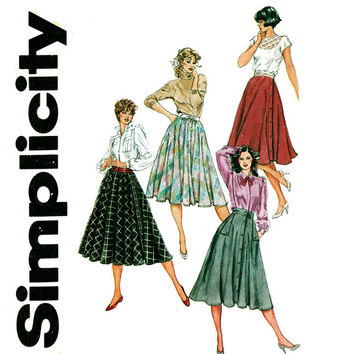 Circle Skirt Pattern Uncut Waist 25 to 28 Simplicity 6035 Poodle Skirt Full Circle, Flared Half Circle Skirts Womens Vintage Sewing Patterns