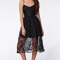 Lucca Couture Sheer Lace Dress - Womens Dress - Black