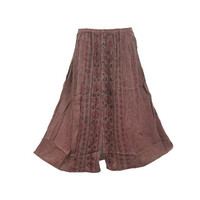 Mogulinterior Hippie Gypsy Skirt Brown Stonewashed Embroidered Long Summer Casual Maxi Skirts