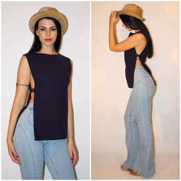 Vintage 60s OPEN SIDE Top, Draped Tunic Vest, Deep Plum WOOL, Sexy Groovy Hippie Festival