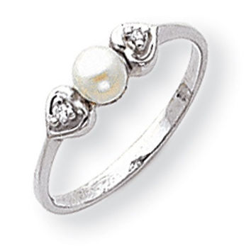 14k White Gold Pearl Diamond Ring