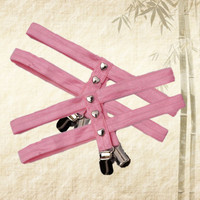 Pink New pastel goth Garters Harajuku Heart rivet garter belt body harness prom Duckbill clip dresses stockings leg garter
