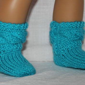 hand knit socks, blue cable socks, 18 inch doll clothes, american girl, maplelea
