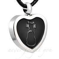 "Cremation ""Cat Heart"" Urn Necklace"