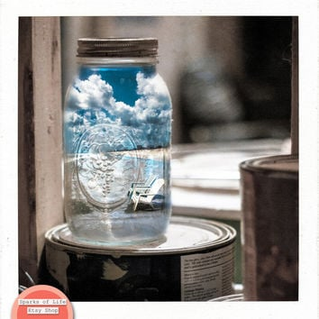 Square instant printable, summer in mason jar, digital download, fine art photograph, surrealism, beach clouds blue sky, wall art home decor