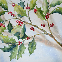Art, Fine Art-Holly in the Snow-Watercolor Painting of Winter Scene