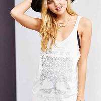 Clarity Tree Of Life Stencil Tank Top- Ivory
