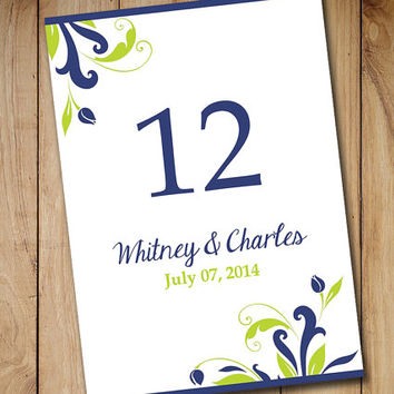 "Printable Wedding Table Number Template | Table Card Download ""Florence"" Navy Blue Lime Green 5 x 7 Wedding Table Number"