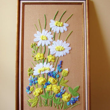 Framed Daisy Wall Hanging  Crewel Embroidery 1970s Wall Art