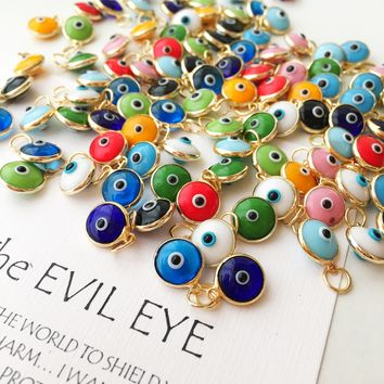 Gold Evil eye charm, 25 pcs, Evil eye beads for connectors, evil eye connectors, evil eye pendant, glass evil eye charm, diy jewelry supply