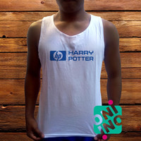 Harry Potter HP Parody Logo Men's White Cotton Solid Tank Top