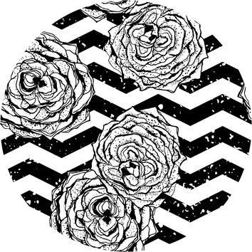 Chevron Hipster Flowers Circle Wall Decal