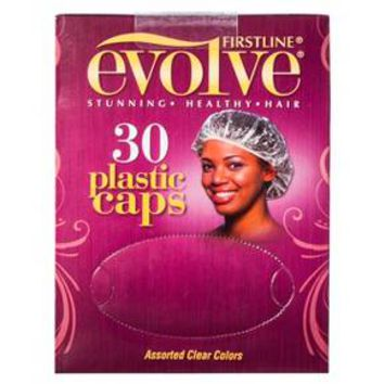 Firstline® Evolve® Plastic Hair Caps - Assorted Clear Colors (30 Count)
