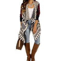 Mixed Geo Print Cardigan