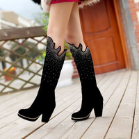 Womens Sexy Shiny High Heeled Platform Knee High Boots Slim Stretch Shoes = 1704347012