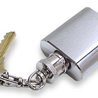 Stainless Steel 1oz Brushed and Polished Keychain Flask
