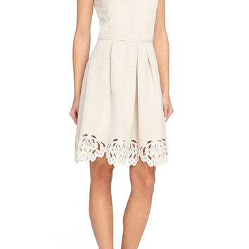 Cutout Hem Linen Blend Fit & Flare Dress (Regular & Petite)
