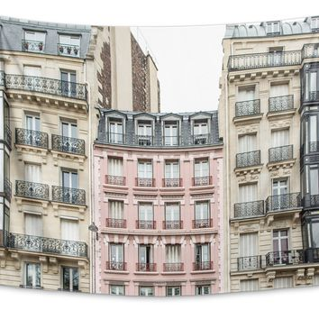 THE PINK APARTMENT BUILDING, PARIS Tapestry By David Phillips