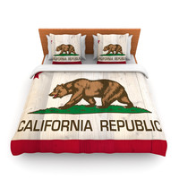 "Bruce Stanfield ""California Flag Wood"" Brown Lightweight Duvet Cover"