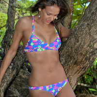 Neon Geometric Low Cut Ruched Bikini Bottoms Pink, Purple, Green & Blue