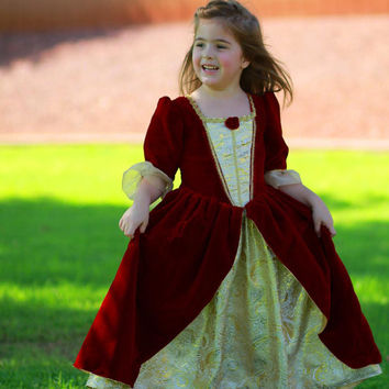 Deluxe Beauty and the Beast Belle Red Velvet and Gold Christmas Dress Disney Princess Size 6