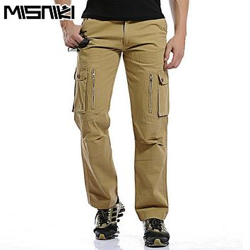 MISNIKI Hot Fashion Regular Cargo Pants Men Cotton Casual Slim Multi-Pocket Tactical Pants For Man Pantalon Homme
