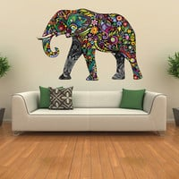 Elephant decal, kids wall sticker elephant art, floral elephant wall decal wall decor removable vinyl animal abstract colorful print [FL073]