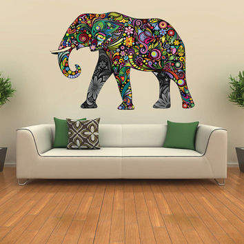 Elephant Decal Kids Wall Sticker From Nurseryroomwallart On Etsy: colorful elephant home decor