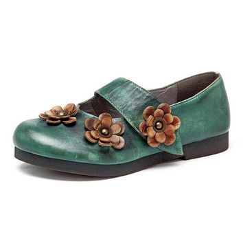 Retro Soft Flower Pattern Hook Loop Flat Leather Shoes