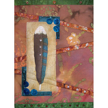 Art Quilt Painted Feather