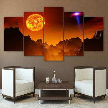 Science Space Universe Fantasy Planet Wall Art Canvas  Panel Print Picture