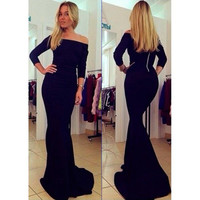 Long Sleeve Black Satin Long Prom Dresses