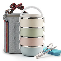 4 Layers Stainless Steel Japanese Lunch Box Set Food Fruit Container Storage Bento Box Portable Thermal Insulation Tote Bag