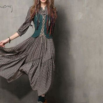 Summer Women Dress Vintage Tunic Cotton Combo Dresses Mandarin Collar Three Quarter Sleeve Maxi