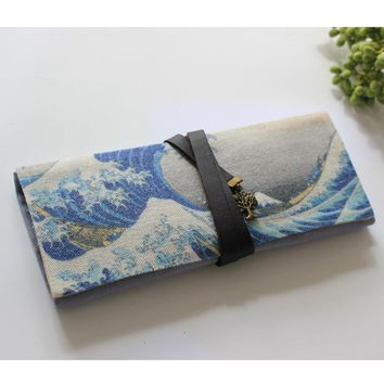 Vintage Kanagawa Roll Up School Supply Pencil Case Japanese Stationery Pen Pouch Holder Cosmetic Bag Papelaria Material Escolar