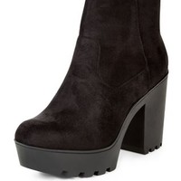 Black Suedette Chunky Block Heel Ankle Boots