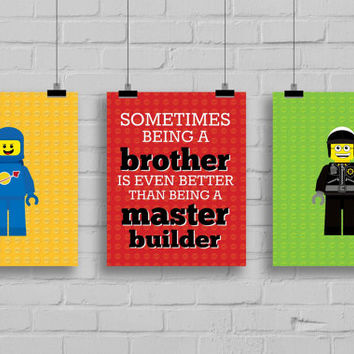 Lego Prints - Sometimes Being a Brother Quote, Master Builder Print, Boys Room, Brothers Print, Nursery Decor, Kids Room Wall Art, 8x10