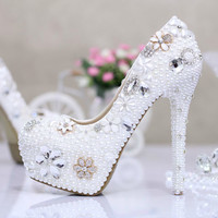 SALE Wedding Shoes --Wedding Shoes with white  Rhinestone Heel -- Choose Your size