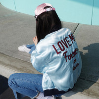 """Love Me Forever or Never"" Alphabet Embroidery Jacket [9138743175]"