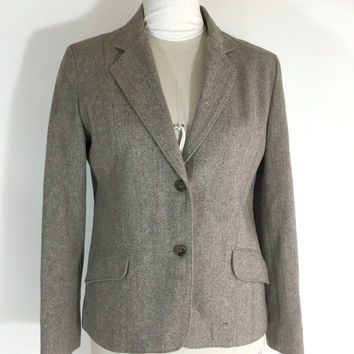 Vintage Womens Suit Jacket Skirt Brown Wool Herringbone Tweed Secretary Skirt And Jacket Size 11/12 Norwester Suit