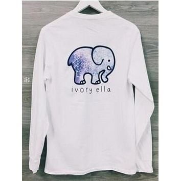 Fashion Women  Round Collar Cute Elephant Pattern Sweatshirt Ivory Ella Letters Printed Pocket Pullover Tops Sweater I