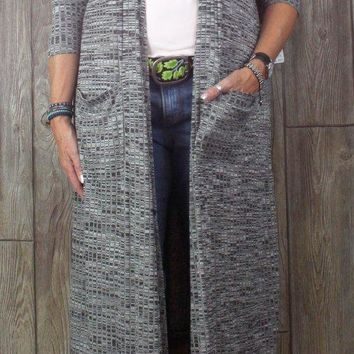 New XL size LuLaroe Cardigan Sweater Sarah Gray Womens Duster Open Front & Pockets