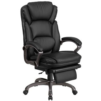 High Back Leather Executive Reclining Swivel Office Chair Padded Armrests