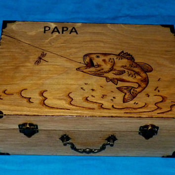 Decorative Rustic Wood Burned Wedding Card Suitcase Box Custom Personalized Bass Fish Gift