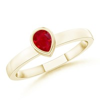 Solitaire Bezel Pear Ruby Promise Ring
