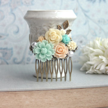 Mint, Peach, Aqua Blue, Ivory, Pearl, Brass Leaf Flower Collage Hair Comb. Vintage Rustic, Maid Of Honor, Bridesmaids. Peach Mint Wedding.