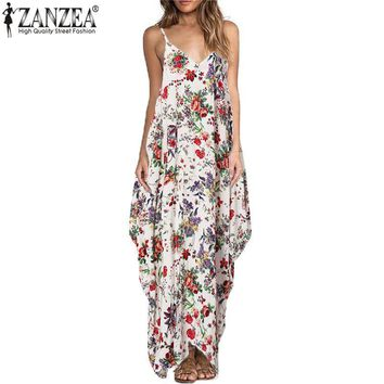 ZANZEA Women 2017 Bohemian Floral Print Maxi Dress Summer Sexy Spaghetti Strap Backless Casual Loose Long Beach Dresses Vestidos