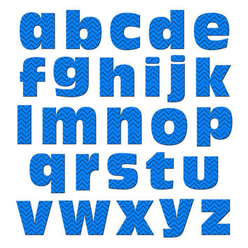 Alphabet Letters Lowercase Chevrons Blue Zig Zag MAG-NEATO'S TM Refrigerator Magnet Set