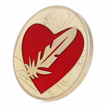 coin Feather Coin Like Bitcoin Gold silver Plated Red Heart Love Commemorative Coins Token